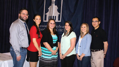Mount Aloysius College graduates head to graduate and professional schools. Left to right: Trevor Anderson, Dina Peruso, Jessica Seasoltz, Christeen Reigh, Tonya Bibby and David Tran.