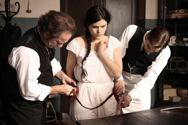 "Vincent Lindon as Professor Charcot, left, and Soko as Augustine in ""Augustine."""