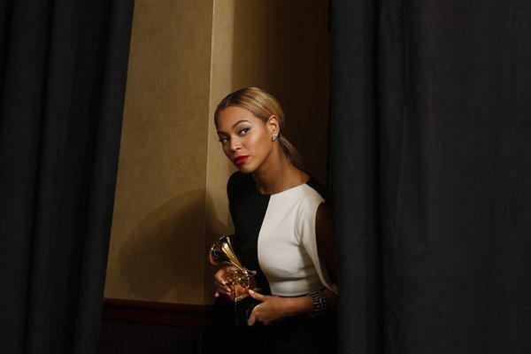 "Beyonce, backstage at the Grammy Awards in Los Angeles earlier this year, is reveling in  being a ""Grown Woman."""