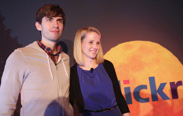 Tumblr founder David Karp poses after a news conference with Yahoo CEO Marissa Mayer.