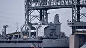 Ghost fleet ship Merrimack departs down James River