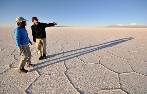 "In Bolivia's Andean high desert, Salar de Uyuni, the world's largest salt flat, stretches 7,440 square miles. <a href=""/features/travel/la-tr-bolivia-20130512-photos,0,1640880.photogallery""><span style=""color: #2262CC;"">More photos...</span></a>"
