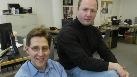 Partners of Chiasso Chris Segal, left, and Greg Kadens in thier office in Chicago in 2004.