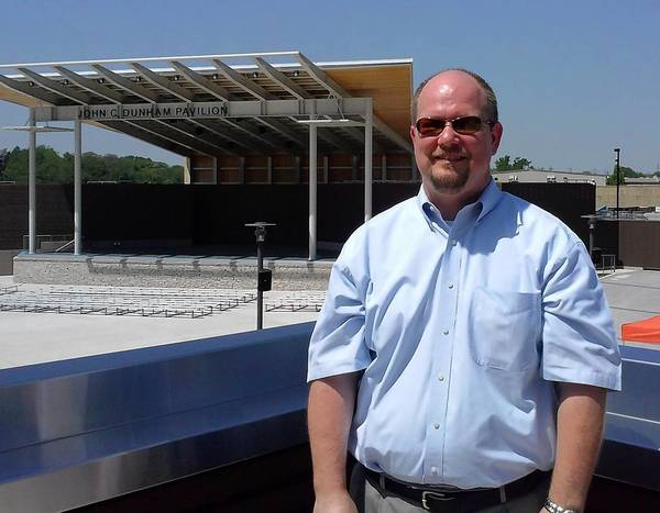 Tim Rater, president and CEO of the Aurora Civic Center Authority, is responsible running and programing RiverEdge Park Music Garden.
