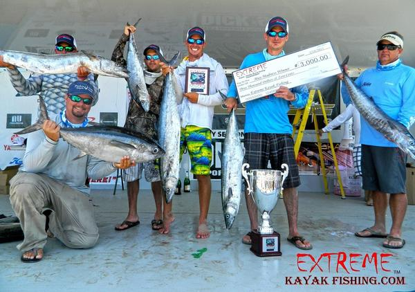 Notable catches in Saturday's May Madness kayak fishing tournament out of Pompano Beach included a wahoo by Andrew Mixon, right, a kingfish and an amberjack by overall winner Eric Digeon, Carl Torresson's 27.6-pound kingfish, a 26.4-pound blackfin tuna and a 12.67 kingfish by Brian Nelli and two kings by Austin Collins.