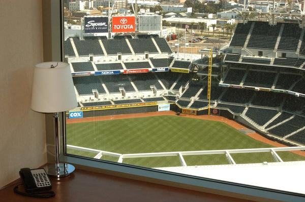 A ballpark view from the Omni San Diego Hotel.