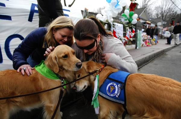 Comfort dogs Libby (R) and Cali receive attention from two women near a memorial for the Sandy Hook Elementary School shooting victims in Newtown, Connecticut.