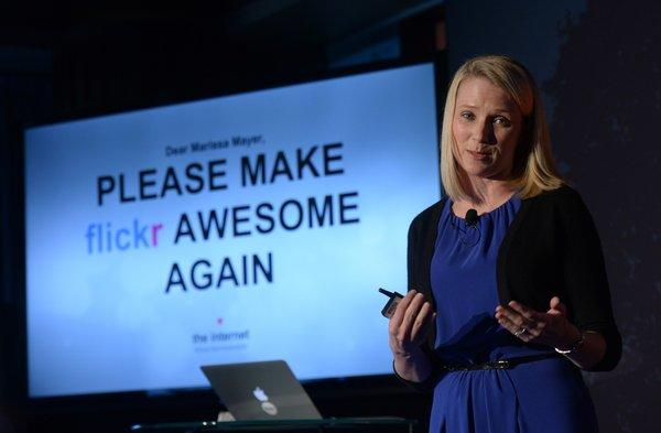 Yahoo Chief Executive Marissa Mayer at an announcement that the company's photo and video storage website, Flickr, would receive a new design and allow 1 terabyte of free storage.