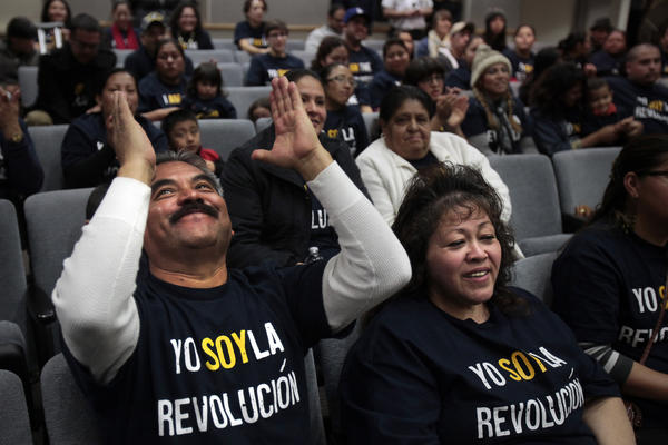Eliazar Jacobo, 58, reacts with joy as parents and concerned citizens showed up at the LAUSD headquarters to deliver more than 300 signatures to Supt. John Deasy in hopes of invoking the first use of the controversial parent trigger law in Los Angeles. The school, 24th Street Elementary School, has some of the lowest test scores and highest suspension rates among elementary schools in the district.