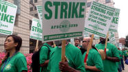 As the afternoon wore on, the number of union members on the picket lines at the University of California medical centers started to thin. But hundreds of workers concerned about staffing levels and pension reforms planned to continue striking throughout the evening.