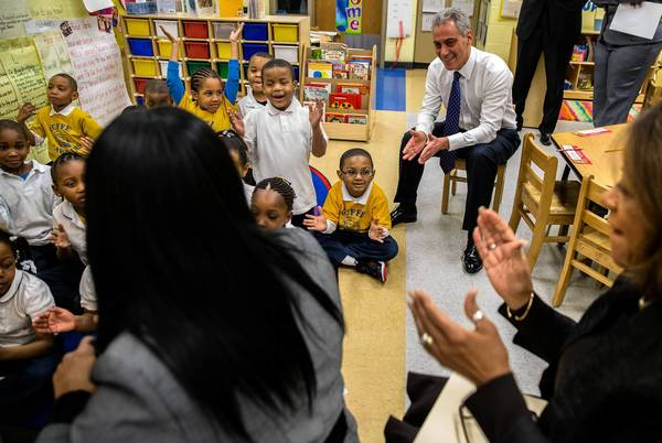 Mayor Rahm Emanuel and Chicago Public Schools CEO Barbara Byrd-Bennett, right, visit teacher Angela Carter's kindergarten class at Paul Cuffe Math-Science Technology Academy in February.