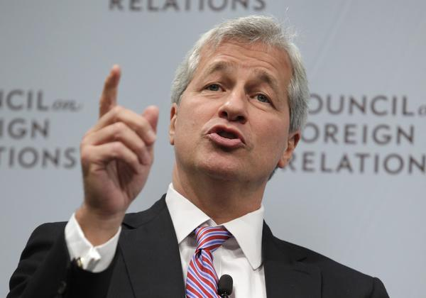 JPMorgan Chase & Co CEO Jamie Dimon speaks about the state of the global economy at a forum hosted by the Council on Foreign Relations in Washington in this file photo.