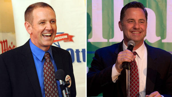 Left: Scott Ott, the Republican nominee for Lehigh County executive, addresses supporters at Pickles Bar and Grill in Emmaus on Tuesday. Right: John Callahan, the Democratic nominee for Northampton County executive, gives his victory speech at Blue in Bethlehem Township.