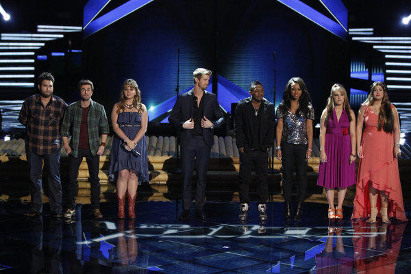 "Zach Swon, left, Colton Swon as the Swon Brothers, Holly Tucker, Josiah Hawley, Kris Thomas, Sasha Allen, Amber Carrington and Sarah Simmons on ""The Voice."""