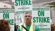 A strike by University of California patient care workers Tuesday caused the cancellation of hundreds of surgeries, the closure of laboratory stations and the diversion of emergency room patients, officials said.