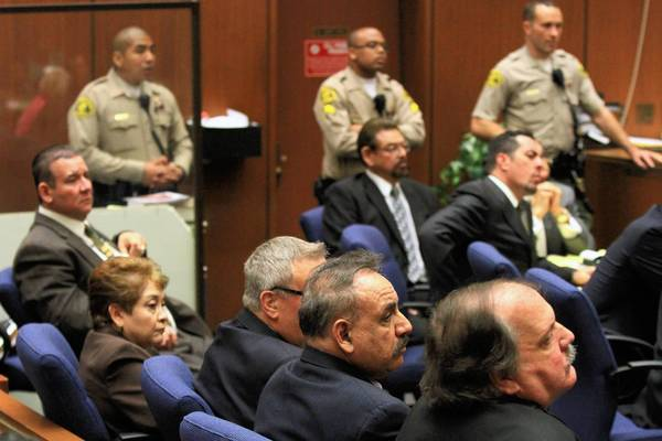 Former Bell City Council members are shown during their trial in March.