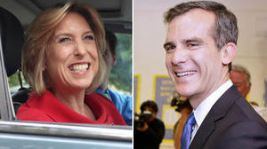 Greuel holds thin lead against Garcetti in early balloting