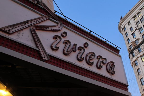 The Riviera Theatre along Broadway in Uptown, just down the street from the Uptown Theatre.