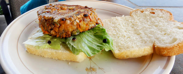 Slightly undercooked lentils and a variety of chopped and grated vegetables add texture and flavor to veggie burgers.
