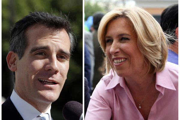 Los Angeles mayoral candidate Eric Garcetti speaking to media in Los Angeles, left, and mayoral candidate Wendy Greuel meeting with voters.