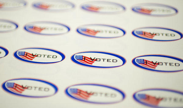 """I Voted"" stickers are seen at a polling station in Los Angeles on May 21, 2013."