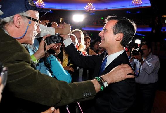 L.A. mayoral candidate Eric Garcetti greets supporters at the Hollywood Palladium on Tuesday night.