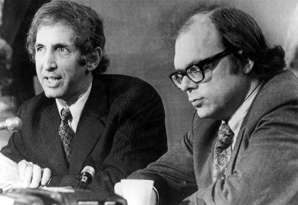 Daniel Ellsberg (left) and the late Anthony Russo were being prosecuted in 1973 for their role in leaking the Pentagon Papers, before the charges were dismissed.