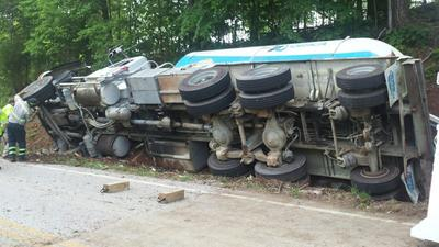 UPDATE: Route 151 in Amherst County closed by tipped-over tractor-trailer carrying blasting material