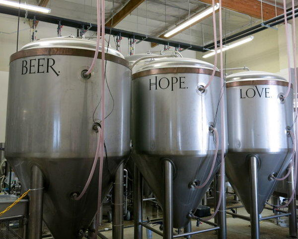 Fermenters at Monkish Brewery in Torrance.