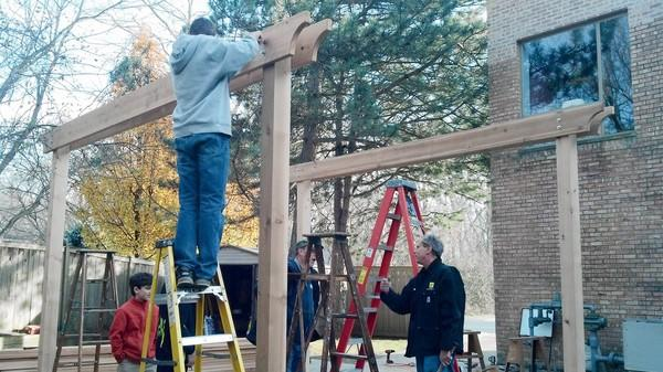 Jeremy Jarger, a 17-year-old Highland Park Eagle Scout, built a pergola, an outdoor arbor-like structure, for the temple to which his family belongs, Lakeside Congregation.