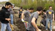 Students at Trinity Christian College in Palos Heights recently banded together to spruce up the community as a way to give thanks to their neighbors.