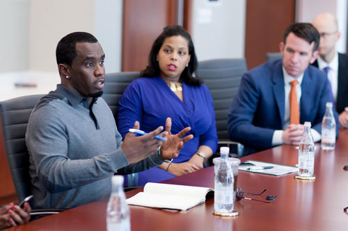 "Sean ""Diddy"" Combs visits Wirtz Beverage Illinois headquarters to discuss his Ciroc Vodka line May 20, 2013."