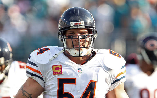 Brian Urlacher during a game last October.
