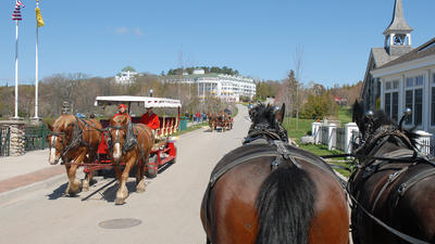 VIDEO: Horse carriage taxi on Mackinac Island