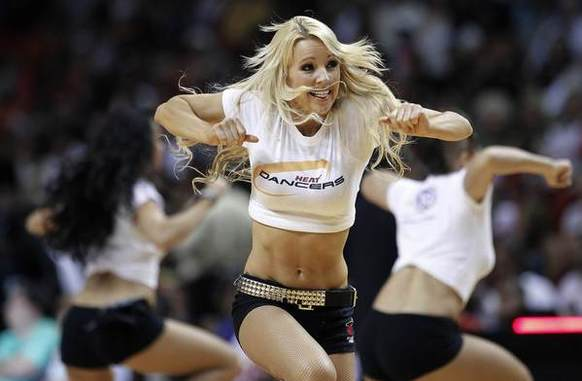 Miami Heat dancers perform during a time out against the Chicago Bulls in the first half of their NBA basketball game in Miami, Florida April 14, 2013. R