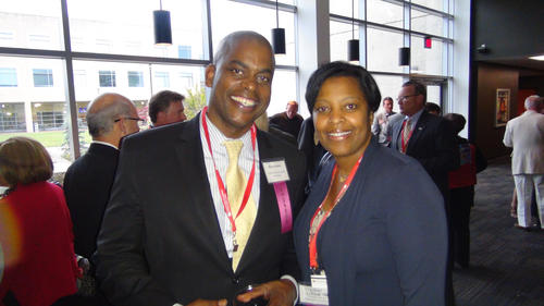 Brian Booker, Commercial Insurance Managers broker, met up with Crystal Alford-Cooper, Strategic Wealth Management Group director of planning.<br><br>Howard County business folks know that The Columbia Foundation's Spring Party is always the one to hit. This year, some 800 people attended the hoop-di-doo, which took place at Howard Community College. <br><br>To better show its dedication to helping county residents and businesses, the Foundation took the opportunity there to announce that it was officially changing its name to the Community Foundation of Howard County.