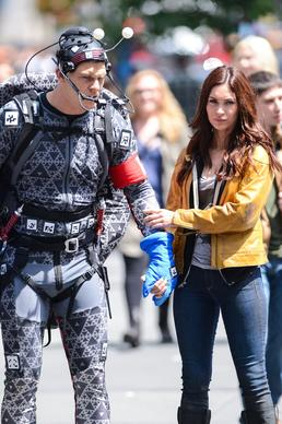 "Actors Alan Ritchson and Megan Fox on location in New York City for ""Teenage Mutant Ninja Turtles."""