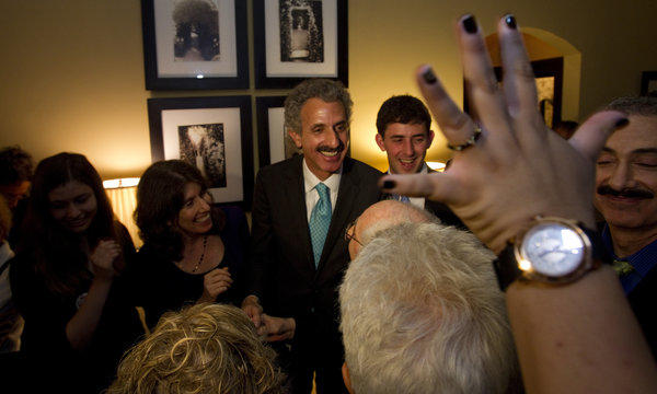 City attorney candidate Mike Feuer at his election night party.