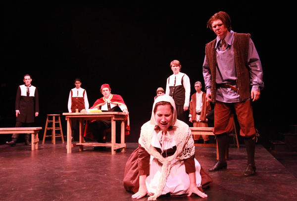 "The Park Avenue Players at Laguna Beach High School rehearse for their upcoming show ""The Crucible"" at the Artists Theatre."