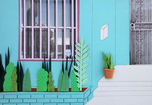 """La Casita."" 2013, 12 by 16 inches, cardboard, paper, acrylic."
