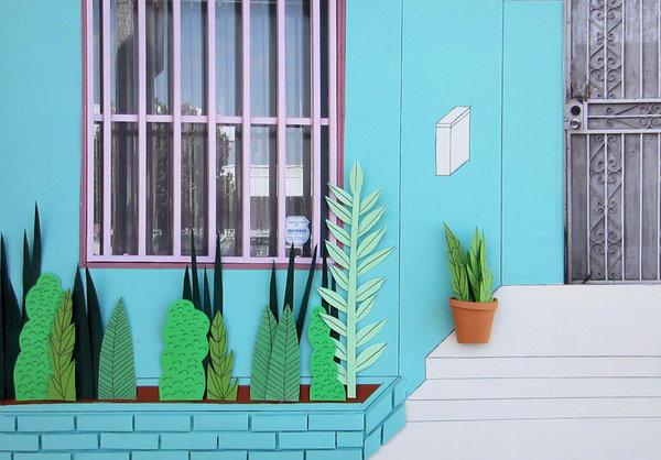 """La Casita."" 2013, 12 by 16 inches, cardboard, paper, acrylic."