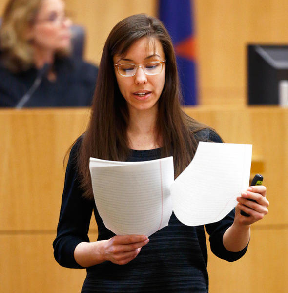 Jodi Arias reads her statement to the jury during the penalty phase of her murder trial in Phoenix, Az. on May 21.