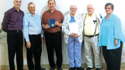 "David R. Hay of Somerset received his ""Golden Sheaf"" certificate and 50-year pin for 50 years of continuous membership in the Hillcrest Grange and the Somerset County Pomona Grange at special ceremony May 8 in the social hall of Somerset Church of the Brethren (the honoree's church). Participating in the program and the presentation were the following Grangers from left: Klaus Schmidt, piano presentation; Leon W. Paul, Hillcrest Master; Hay, who joined Hillcrest in 1963; Emma Gene Engle, Hillcrest's long-time secretary; James F. Mowry, Pomona Grange Master, and Esther Mowry, vocalist."