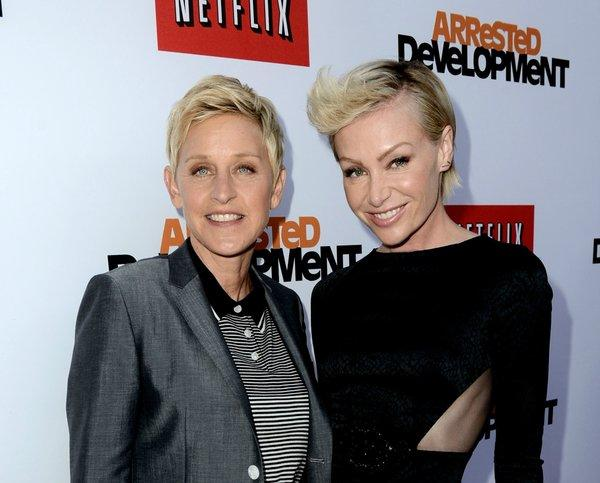 "Ellen DeGeneres, left, and actress Portia de Rossi are adding a 13-acre estate in Montecito to their list of Southern California properties. Above, they attend the premiere of Netflix's ""Arrested Development"" Season 4 at the Chinese Theatre."