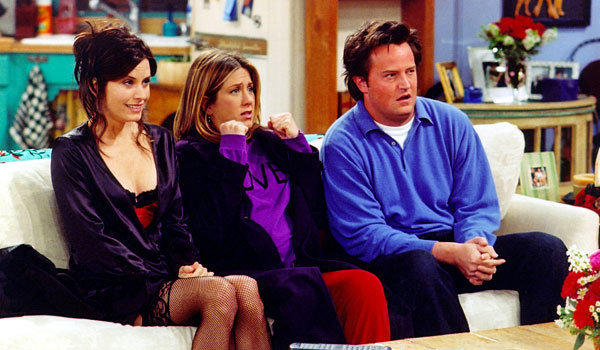 "From left, Courteney Cox, Jennifer Aniston and Matthew Perry in a 2002 episode of ""Friends."""
