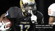 "<span style=""font-size: small;"">Deion Hallmon, one of the top returning players off last season's Florida Class 8A state runner-up Cypress Bay team, already had 30 plus college scholarship offers coming into the week.</span>"