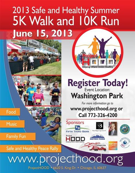 The flyer for the 5K walk and 10K run on June 15 in Washington Park.