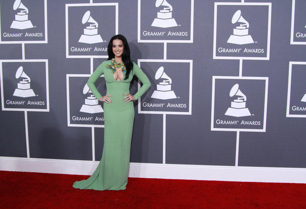Katy Perry arrives for the 55th Grammy Awards at Staples Center.