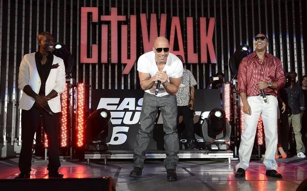 "Tyrese Gibson, Vin Diesel and Ludacris perform at the U.S.  premiere of  ""Fast & Furious 6"" at the Gibson Amphitheatre."