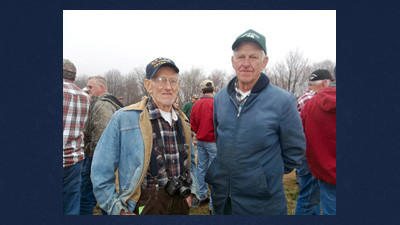 The late Arnie Weidner, left, is pictured with his brother, Ed Weidner, of Philadelphia, during Arnie's farm sale on April 17.